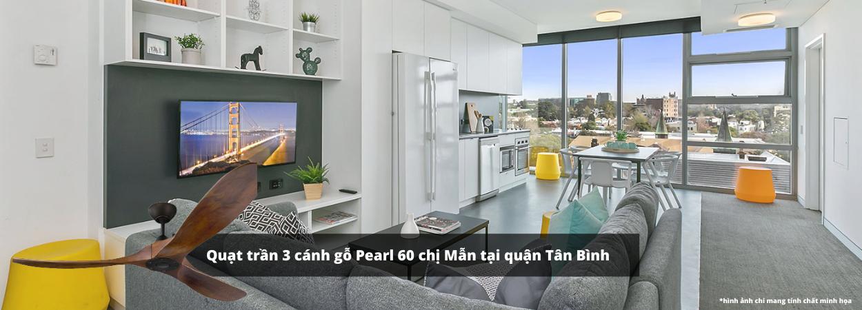 Quạt trần 3 cánh gỗ Pearl 60 lắp đặt cho biệt thự nhà phố chị Mẫn tại quận Tân Bình