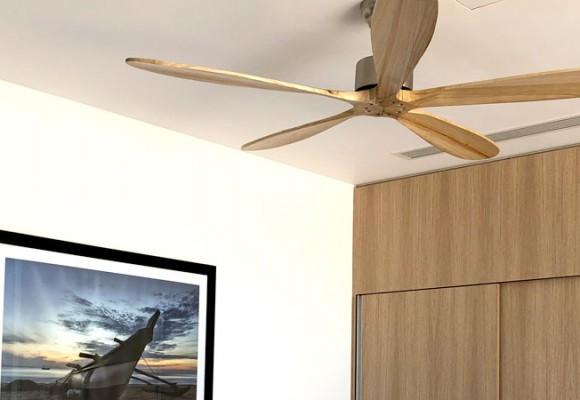Quạt trần 5 cánh gỗ điểm độc đáo cho phòng khách